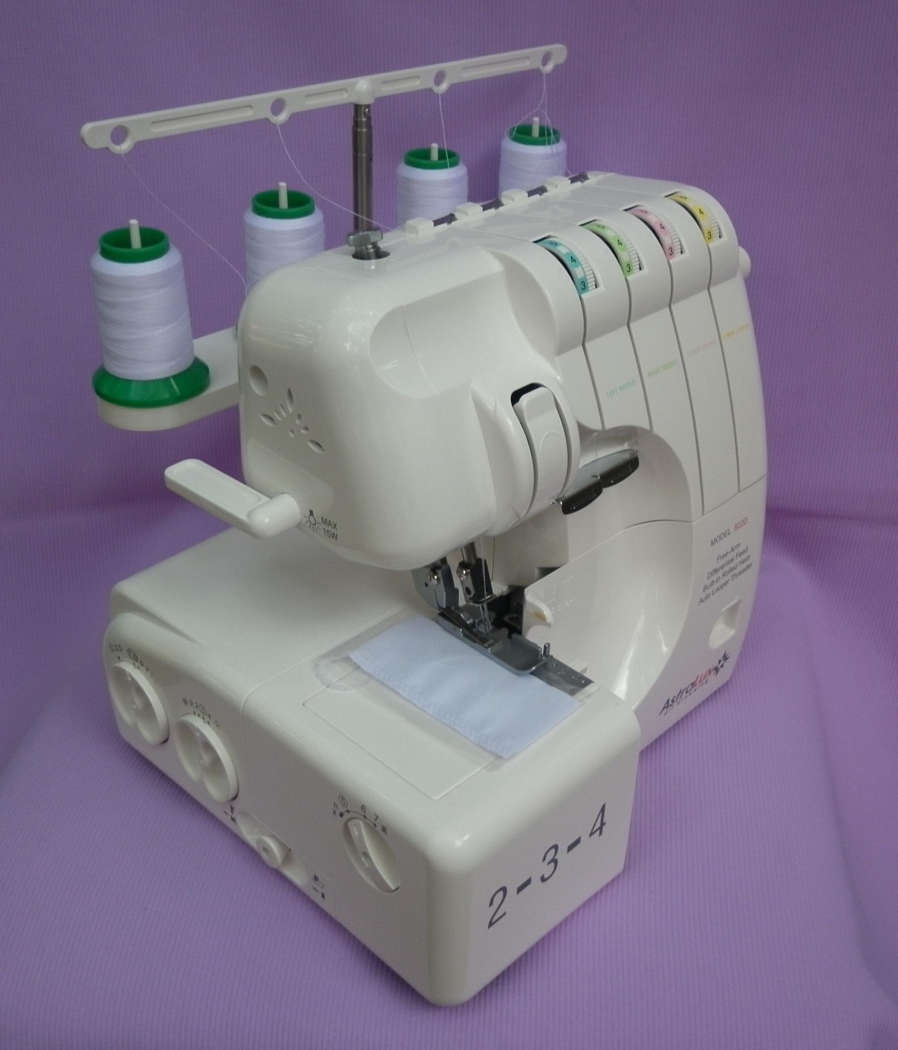 Оверлок ASTRALUX 822 D ( бытовая швейная машина, краеобмёточно - стачивающая ), внутренняя запавка ниток оверлока.